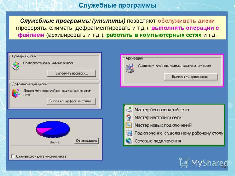 Служебные программы Служебные программы (утилиты) позволяют обслуживать диски (проверять, сжимать, дефрагментировать и т.д.), выполнять операции с файлами (архивировать и т.д.), работать в компьютерных сетях и т.д. 41