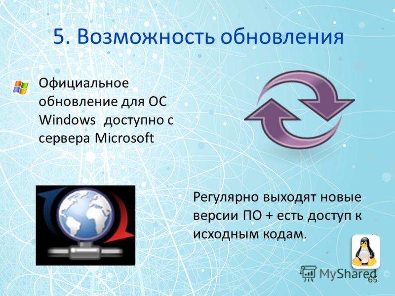 5. Возможность обновления Официальное обновление для ОС Windows доступно с сервера Microsoft Регулярно выходят новые версии ПО + есть доступ к исходным кодам. 65