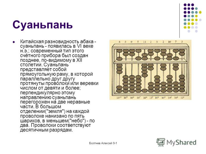 Болтнев Алексей 9-1 Суаньпань Китайская разновидность абака - суаньпань - появилась в VI веке н.э.; современный тип этого счётного прибора был создан позднее, по-видимому в XII столетии. Суаньпань представляет собой прямоугольную раму, в которой пара