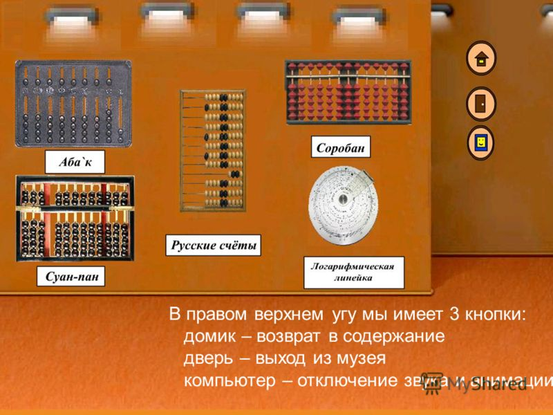 Свою работу я хотел бы показать на примере ручного этапа: В правом верхнем угу мы имеет 3 кнопки: домик – возврат в содержание дверь – выход из музея компьютер – отключение звука и анимации