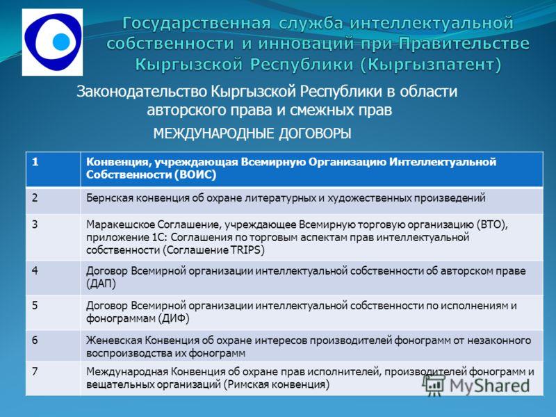 МЕЖДУНАРОДНЫЕ ДОГОВОРЫ Законодательство Кыргызской Республики в области авторского права и смежных прав 1Конвенция, учреждающая Всемирную Организацию Интеллектуальной Собственности (ВОИС) 2Бернская конвенция об охране литературных и художественных пр