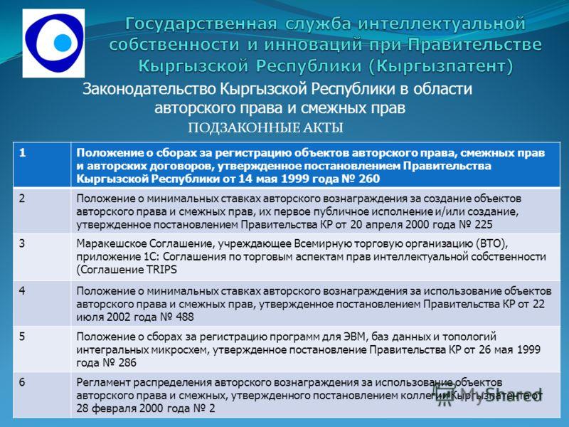 ПОДЗАКОННЫЕ АКТЫ Законодательство Кыргызской Республики в области авторского права и смежных прав 1Положение о сборах за регистрацию объектов авторского права, смежных прав и авторских договоров, утвержденное постановлением Правительства Кыргызской Р