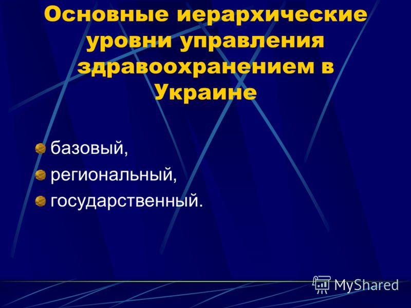 Основные иерархические уровни управления здравоохранением в Украине базовый, региональный, государственный.