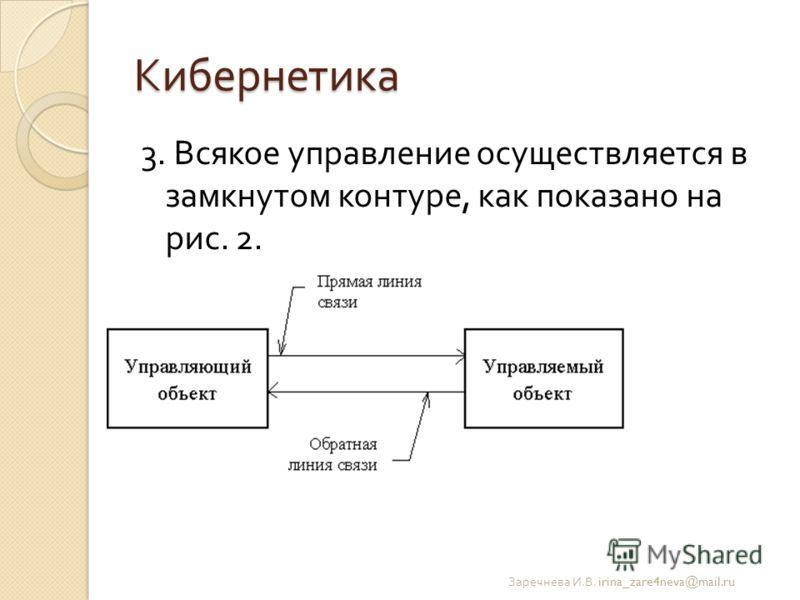 Кибернетика 3. Всякое управление осуществляется в замкнутом контуре, как показано на рис. 2. Заречнева И. В. irina_zare4neva@mail.ru