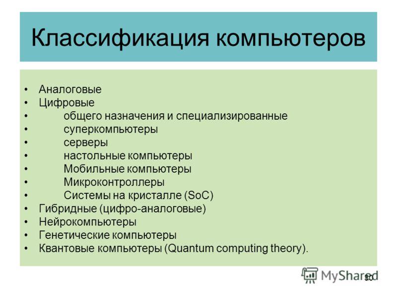 Классификация компьютеров Аналоговые Цифровые общего назначения и специализированные суперкомпьютеры серверы настольные компьютеры Мобильные компьютеры Микроконтроллеры Системы на кристалле (SoC) Гибридные (цифро-аналоговые) Нейрокомпьютеры Генетичес