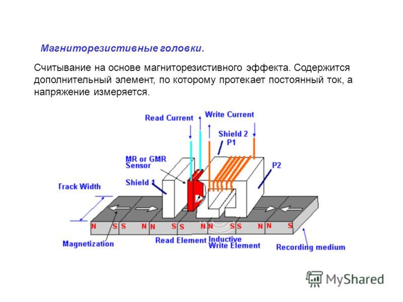 Считывание на основе магниторезистивного эффекта. Содержится дополнительный элемент, по которому протекает постоянный ток, а напряжение измеряется. Магниторезистивные головки.