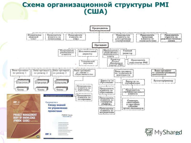 10 Схема организационной структуры PMI (США)