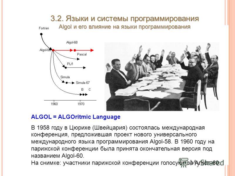 3.2. Языки и системы программирования Algol и его влияние на языки программирования ALGOL = ALGOritmic Language В 1958 году в Цюрихе (Швейцария) состоялась международная конференция, предложившая проект нового универсального международного языка прог