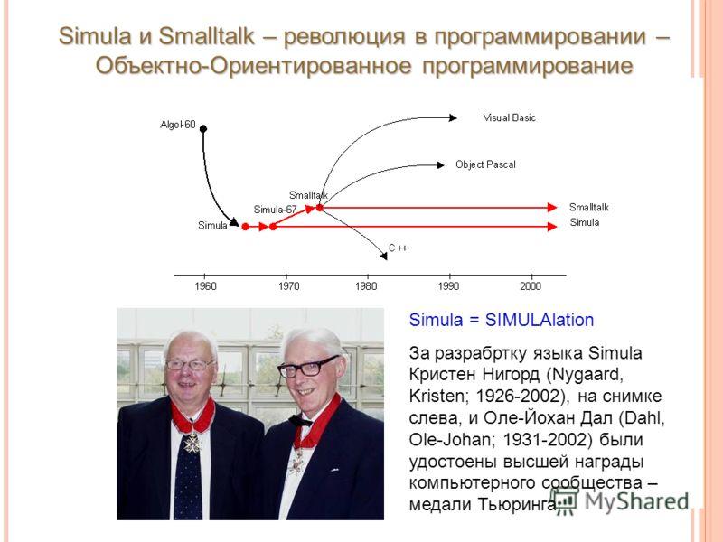 Simula и Smalltalk – революция в программировании – Объектно-Ориентированное программирование Simula = SIMULAlation За разрабртку языка Simula Кристен Нигорд (Nygaard, Kristen; 1926-2002), на снимке слева, и Оле-Йохан Дал (Dahl, Ole-Johan; 1931-2002)