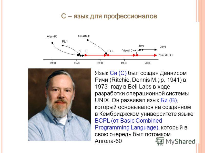 С – язык для профессионалов Язык Си (С) был создан Деннисом Ричи (Ritchie, Dennis M.; р. 1941) в 1973 году в Bell Labs в ходе разработки операционной системы UNIX. Он развивал язык Би (B), который основывался на созданном в Кембриджском университете