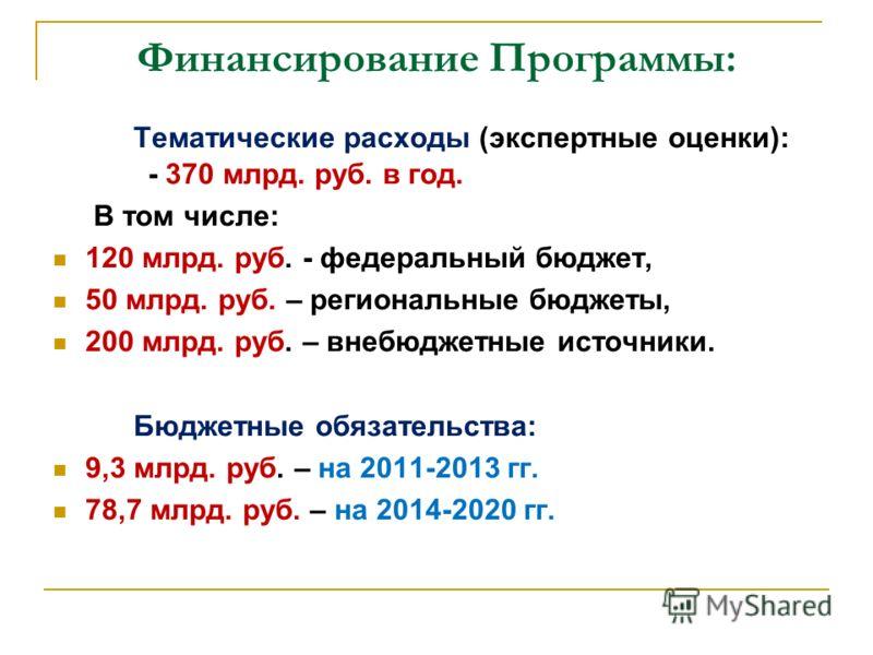 Финансирование Программы: Тематические расходы (экспертные оценки): - 370 млрд. руб. в год. В том числе: 120 млрд. руб. - федеральный бюджет, 50 млрд. руб. – региональные бюджеты, 200 млрд. руб. – внебюджетные источники. Бюджетные обязательства: 9,3