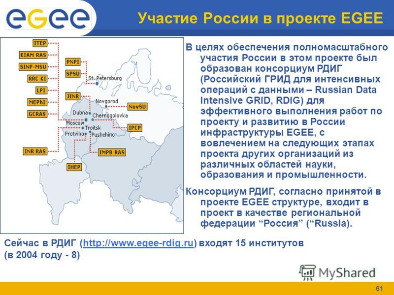 61 Участие России в проекте EGEE В целях обеспечения полномасштабного участия России в этом проекте был образован консорциум РДИГ (Российский ГРИД для интенсивных операций с данными – Russian Data Intensive GRID, RDIG) для эффективного выполнения раб