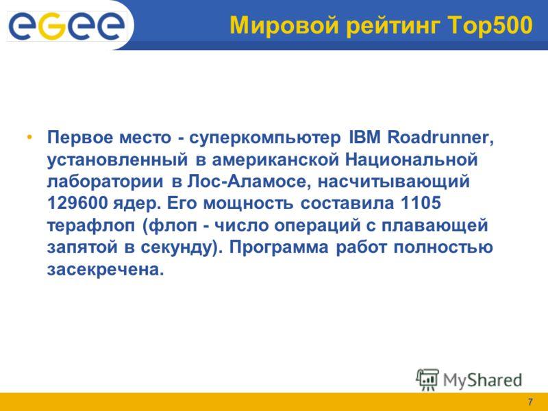 7 Мировой рейтинг Top500 Первое место - суперкомпьютер IBM Roadrunner, установленный в американской Национальной лаборатории в Лос-Аламосе, насчитывающий 129600 ядер. Его мощность составила 1105 терафлоп (флоп - число операций с плавающей запятой в с