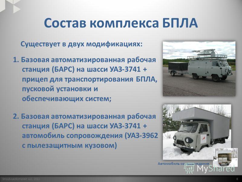 Состав комплекса БПЛА StroySvyazKomplekt LLC, 2011 6 БАРС+прицеп Автомобиль сопровождения 1. Базовая автоматизированная рабочая станция (БАРС) на шасси УАЗ-3741 + прицеп для транспортирования БПЛА, пусковой установки и обеспечивающих систем; 2. Базов