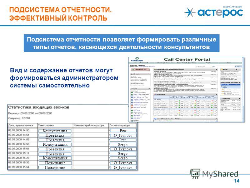14 Вид и содержание отчетов могут формироваться администратором системы самостоятельно ПОДСИСТЕМА ОТЧЕТНОСТИ. ЭФФЕКТИВНЫЙ КОНТРОЛЬ Подсистема отчетности позволяет формировать различные типы отчетов, касающихся деятельности консультантов