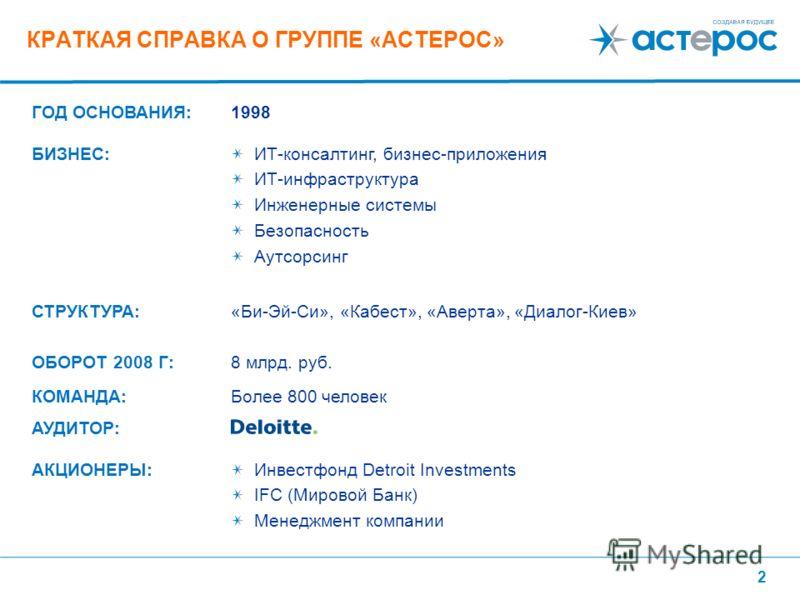 2 КРАТКАЯ СПРАВКА О ГРУППЕ «АСТЕРОС» ГОД ОСНОВАНИЯ:1998 БИЗНЕС:ИТ-консалтинг, бизнес-приложения ИТ-инфраструктура Инженерные системы Безопасность Аутсорсинг СТРУКТУРА:«Би-Эй-Си», «Кабест», «Аверта», «Диалог-Киев» ОБОРОТ 2008 Г:8 млрд. руб. КОМАНДА:Бо