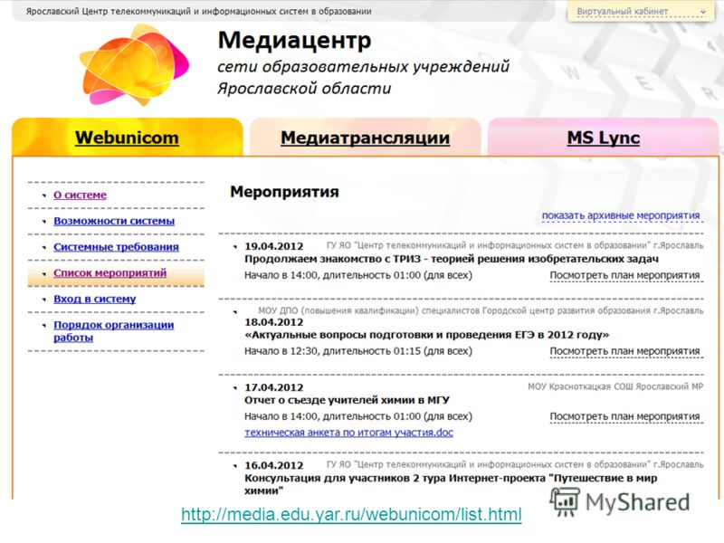 http://media.edu.yar.ru/webunicom/list.html