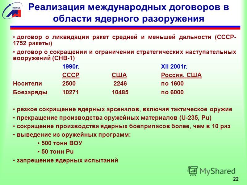 Реализация международных договоров в области ядерного разоружения договор о ликвидации ракет средней и меньшей дальности (СССР- 1752 ракеты) договор о сокращении и ограничении стратегических наступательных вооружений (СНВ-1) 1990г. XII 2001г. CCCРСША