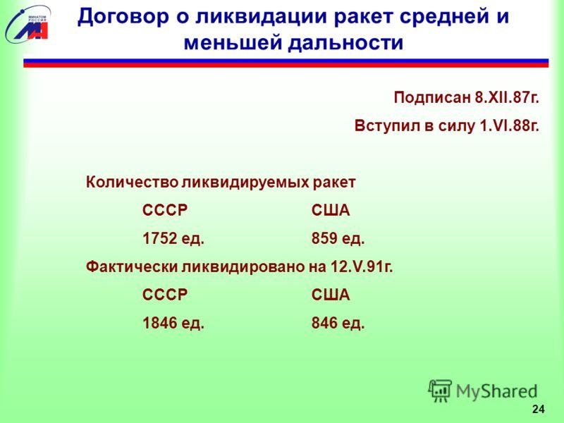 Договор о ликвидации ракет средней и меньшей дальности Подписан 8.XII.87г. Вступил в силу 1.VI.88г. Количество ликвидируемых ракет СССРСША 1752 ед.859 ед. Фактически ликвидировано на 12.V.91г. СССРСША 1846 ед.846 ед. 24