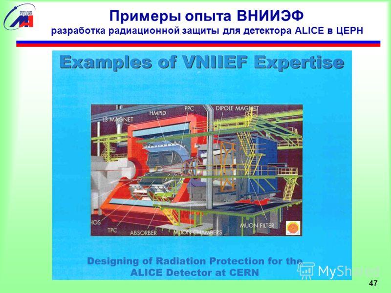 47 Примеры опыта ВНИИЭФ разработка радиационной защиты для детектора ALICE в ЦЕРН