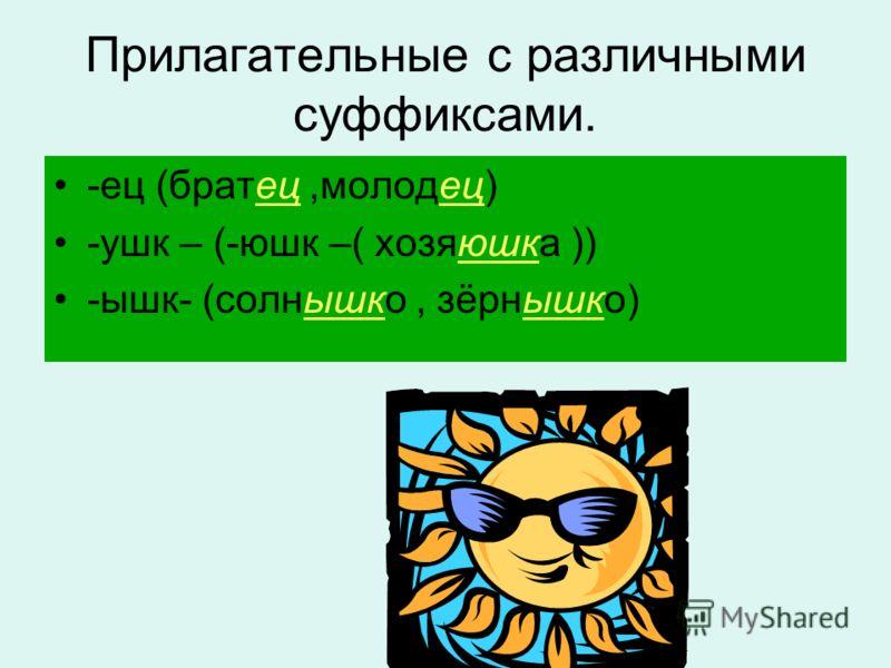 Прилагательные с различными суффиксами. -ец (братец,молодец) -ушк – (-юшк –( хозяюшка )) -ышк- (солнышко, зёрнышко)
