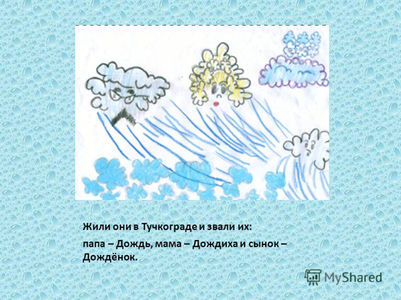 Жили они в Тучкограде и звали их: папа – Дождь, мама – Дождиха и сынок – Дождёнок.