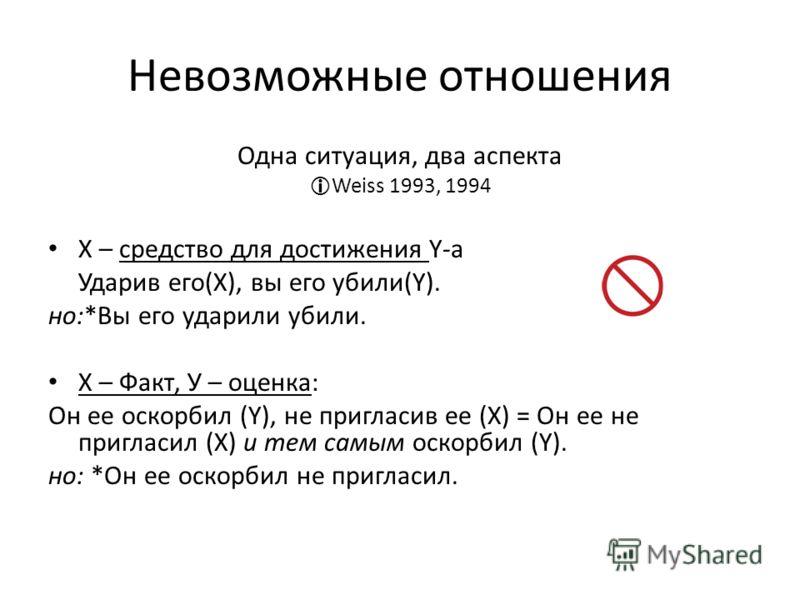 Невозможные отношения Одна ситуация, два аспекта Weiss 1993, 1994 Х – средствo для достижения Y-а Ударив его(Х), вы его убили(Y). но:*Вы его ударили убили. Х – Факт, У – оценка: Он ее оскорбил (Y), не пригласив ее (Х) = Он ее не пригласил (Х) и тем с