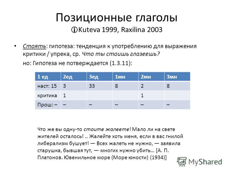 Позиционные глаголы Kuteva 1999, Raxilina 2003 Стоять: гипотеза: тенденция к употреблению для выражения критики / упрека, ср. Что ты стоишь глазеешь? но: Гипотеза не потверждается (1.3.11): 1 ед2ед3ед1мн2мн3мн наст: 1533828 критика11 Прош: –––––– Что
