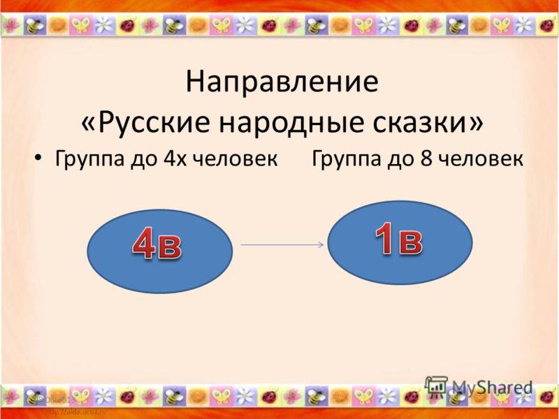 Направление «Русские народные сказки» Группа до 4х человек Группа до 8 человек 08.06.20136