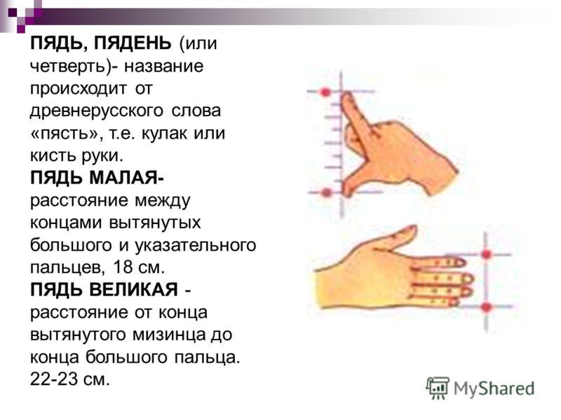 ПЯДЬ, ПЯДЕНЬ (или четверть)- название происходит от древнерусского слова «пясть», т.е. кулак или кисть руки. ПЯДЬ МАЛАЯ- расстояние между концами вытянутых большого и указательного пальцев, 18 см. ПЯДЬ ВЕЛИКАЯ - расстояние от конца вытянутого мизинца