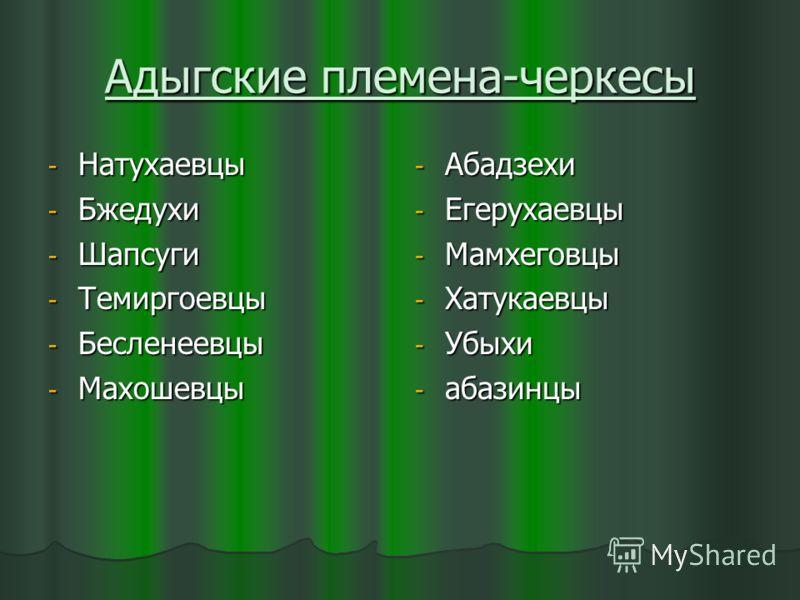 Адыгские племена-черкесы - Натухаевцы - Бжедухи - Шапсуги - Темиргоевцы - Бесленеевцы - Махошевцы - Абадзехи - Егерухаевцы - Мамхеговцы - Хатукаевцы - Убыхи - абазинцы