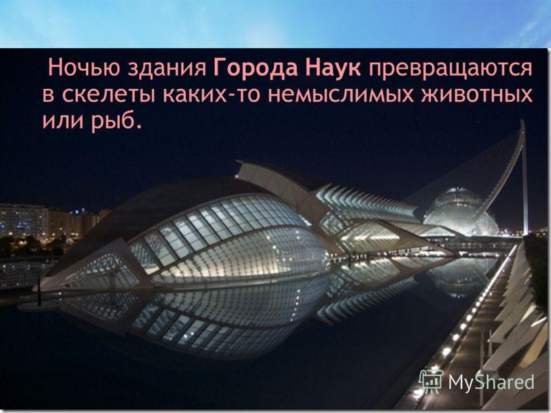 Ночью здания Города Наук превращаются в скелеты каких-то немыслимых животных или рыб.
