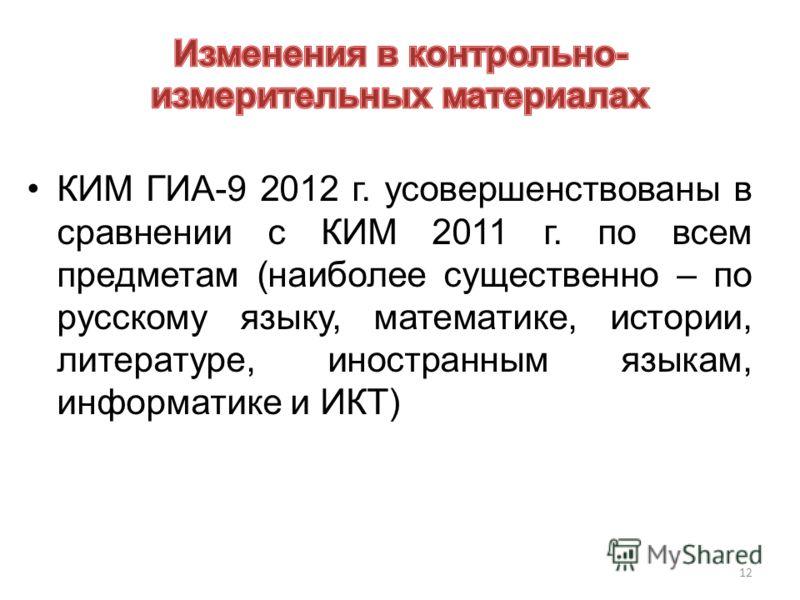 12 КИМ ГИА-9 2012 г. усовершенствованы в сравнении с КИМ 2011 г. по всем предметам (наиболее существенно – по русскому языку, математике, истории, литературе, иностранным языкам, информатике и ИКТ)