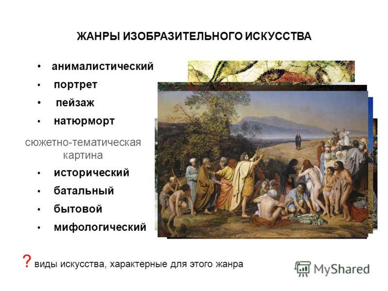 ЖАНРЫ ИЗОБРАЗИТЕЛЬНОГО ИСКУССТВА анималистический портрет пейзаж натюрморт сюжетно-тематическая картина исторический батальный бытовой мифологический ? виды искусства, характерные для этого жанра