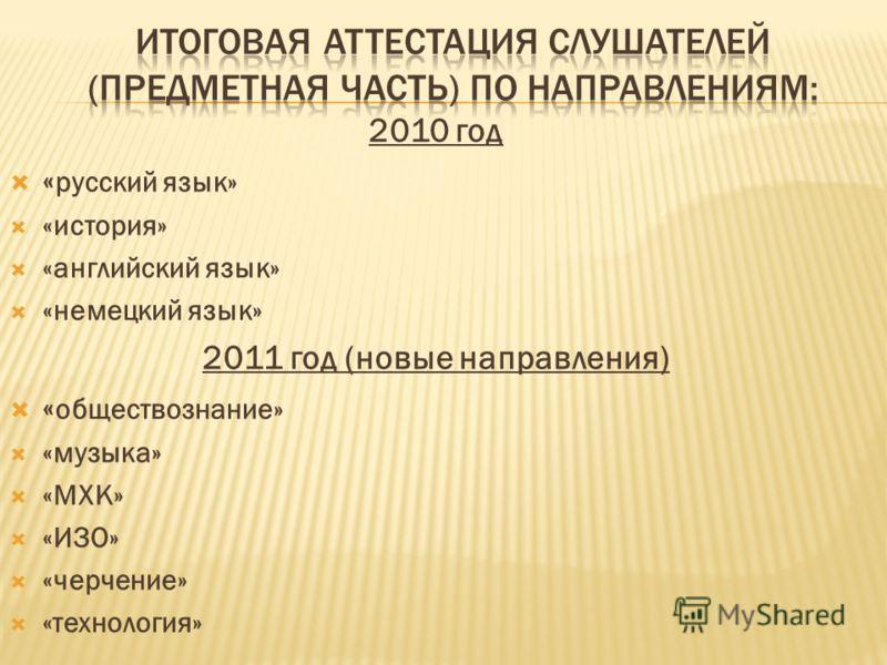 2010 год « русский язык» «история» «английский язык» «немецкий язык» 2011 год (новые направления) « обществознание» «музыка» «МХК» «ИЗО» «черчение» «технология»