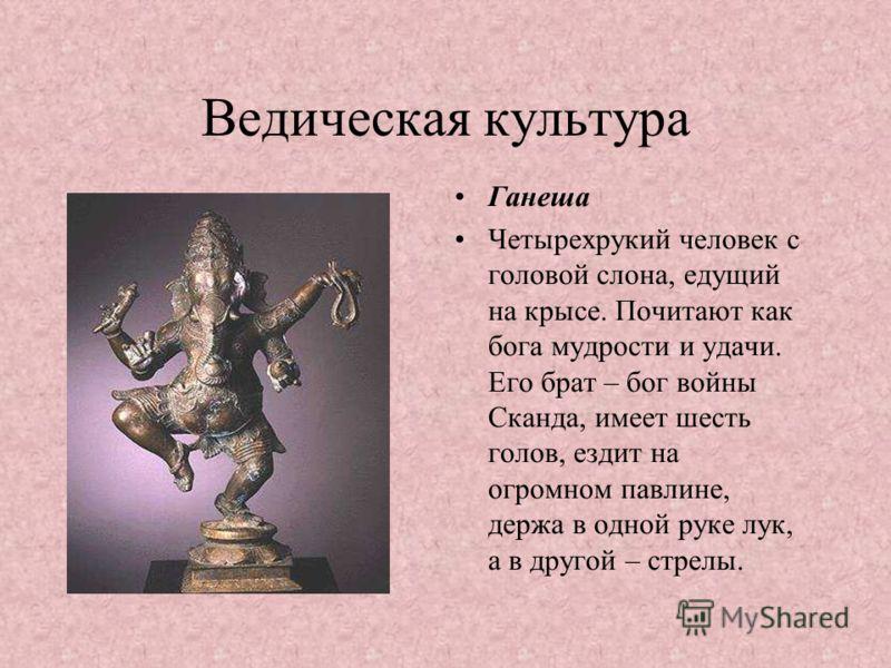 Ведическая культура Ганеша Четырехрукий человек с головой слона, едущий на крысе. Почитают как бога мудрости и удачи. Его брат – бог войны Сканда, имеет шесть голов, ездит на огромном павлине, держа в одной руке лук, а в другой – стрелы.