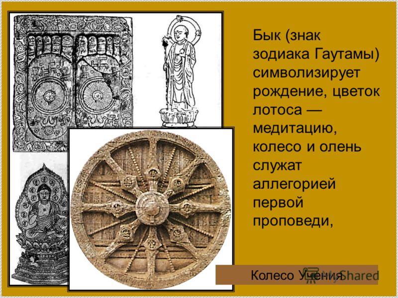 Бык (знак зодиака Гаутамы) символизирует рождение, цветок лотоса медитацию, колесо и олень служат аллегорией первой проповеди, Колесо Учения