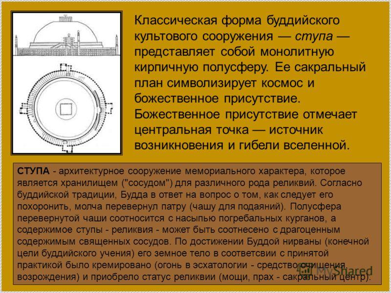 Классическая форма буддийского культового сооружения ступа представляет собой монолитную кирпичную полусферу. Ее сакральный план символизирует космос и божественное присутствие. Божественное присутствие отмечает центральная точка источник возникновен