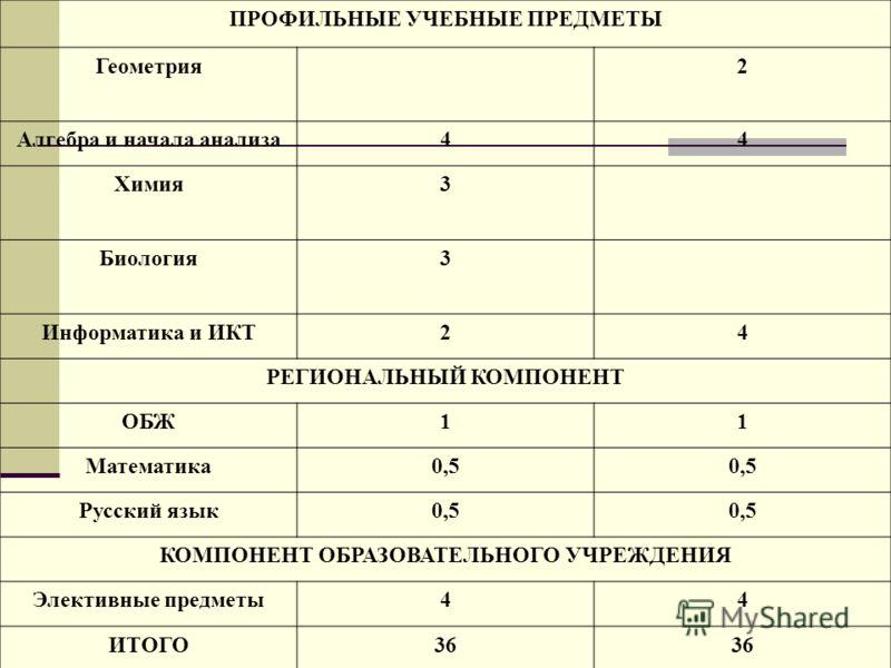 ПРОФИЛЬНЫЕ УЧЕБНЫЕ ПРЕДМЕТЫ Геометрия2 Алгебра и начала анализа44 Химия3 Биология3 Информатика и ИКТ24 РЕГИОНАЛЬНЫЙ КОМПОНЕНТ ОБЖ11 Математика0,5 Русский язык0,5 КОМПОНЕНТ ОБРАЗОВАТЕЛЬНОГО УЧРЕЖДЕНИЯ Элективные предметы44 ИТОГО36