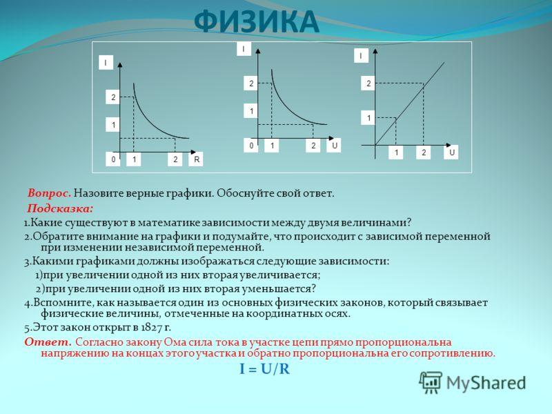 ФИЗИКА Вопрос. Назовите верные графики. Обоснуйте свой ответ. Подсказка: 1.Какие существуют в математике зависимости между двумя величинами? 2.Обратите внимание на графики и подумайте, что происходит с зависимой переменной при изменении независимой п