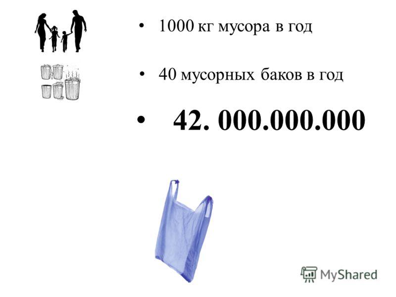 1000 кг мусора в год 40 мусорных баков в год 42. 000.000.000