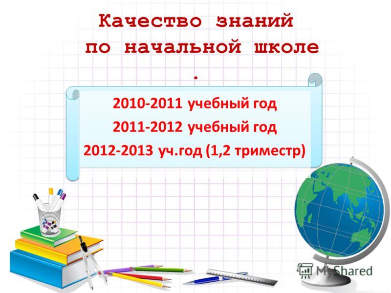 Качество знаний по начальной школе. 2010-2011 учебный год 2011-2012 учебный год 2012-2013 уч.год (1,2 триместр)