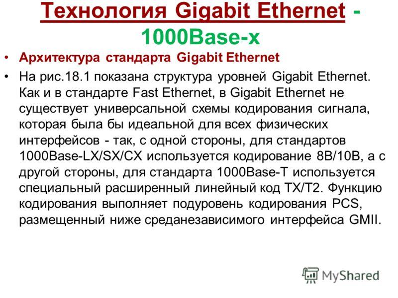 Технология Gigabit Ethernet - 1000Base-x Архитектура стандарта Gigabit Ethernet На рис.18.1 показана структура уровней Gigabit Ethernet. Как и в стандарте Fast Ethernet, в Gigabit Ethernet не существует универсальной схемы кодирования сигнала, котора