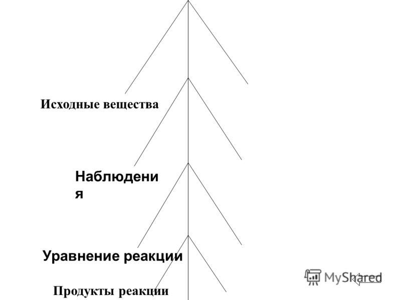 Исходные вещества Наблюдени я Уравнение реакции Продукты реакции