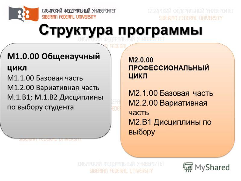 Структура программы М1.0.00 Общенаучный цикл М1.1.00 Базовая часть М1.2.00 Вариативная часть М.1.В1; М.1.В2 Дисциплины по выбору студента М1.0.00 Общенаучный цикл М1.1.00 Базовая часть М1.2.00 Вариативная часть М.1.В1; М.1.В2 Дисциплины по выбору сту