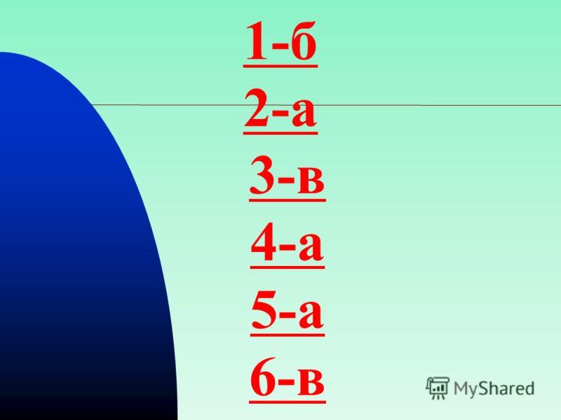 1-б 2-а 3-в 4-а 5-а 6-в