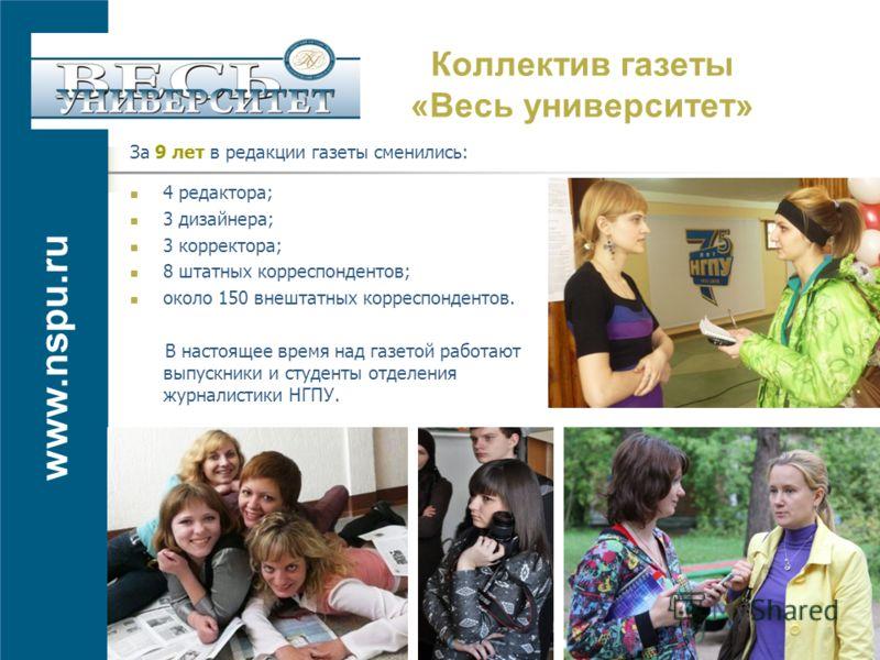 www.nspu.ru Коллектив газеты «Весь университет» За 9 лет в редакции газеты сменились: 4 редактора; 3 дизайнера; 3 корректора; 8 штатных корреспондентов; около 150 внештатных корреспондентов. В настоящее время над газетой работают выпускники и студент