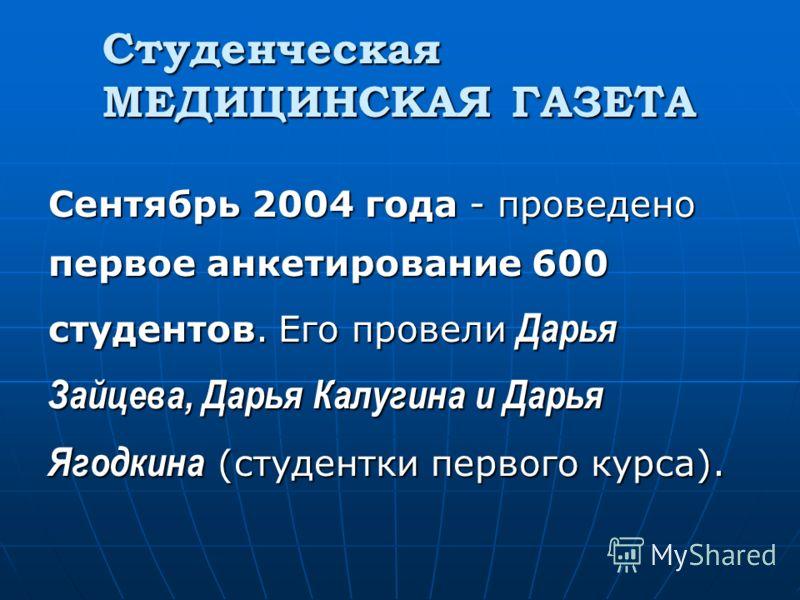 Студенческая МЕДИЦИНСКАЯ ГАЗЕТА Сентябрь 2004 года - проведено первое анкетирование 600 студентов. Его провели Дарья Зайцева, Дарья Калугина и Дарья Ягодкина (студентки первого курса).