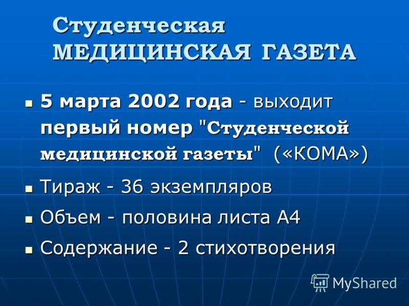 Студенческая МЕДИЦИНСКАЯ ГАЗЕТА 5 марта 2002 года - выходит первый номер
