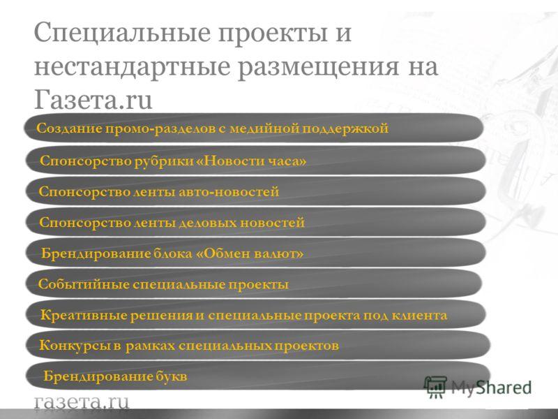 Специальные проекты и нестандартные размещения на Газета.ru Cпонсорство рубрики «Новости часа» Cпонсорство ленты деловых новостей Cпонсорство ленты авто-новостей Креативные решения и специальные проекта под клиента Конкурсы в рамках специальных проек